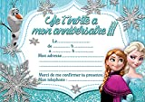 10 CARTES INVITATION ANNIVERSAIRE LA REINE DES NEIGES FROZEN in French