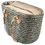 SIDCO ® Strohtasche Tragetasche Strandtasche Stroh Korbtasche Shopper Einkaufskorb Mokka