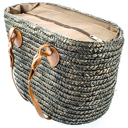 Reißverschluss Stroh (SIDCO ® Strohtasche Tragetasche Strandtasche Stroh Korbtasche Shopper Einkaufskorb Mokka)