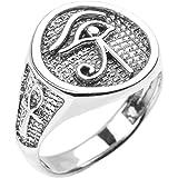 Egyptian Ankh Crosses Sterling Silver Eye of Horus Men's Ring