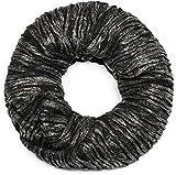 styleBREAKER Loop Schal mit Falten und All over Glitzer, Schlauchschal, Tuch, Damen 01017077, Farbe:Schwarz/Silber