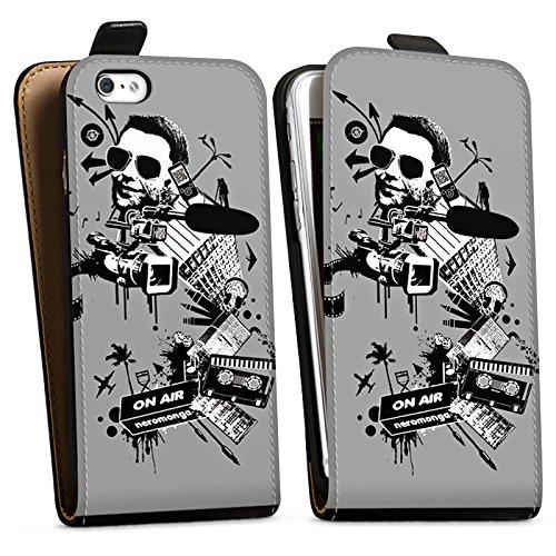 Apple iPhone X Silikon Hülle Case Schutzhülle Kamera Musik Kassette Downflip Tasche schwarz