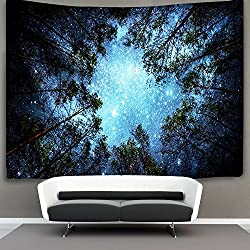 Forest Starry Tapestry Wall Hanging 3D Printing Forest Tapestry Galaxy Tapestry Forest Milky Way Tapestry Tree Tapestry Night Sky Tapestry Wall Tapestry for Dorm Living Room Bedroom
