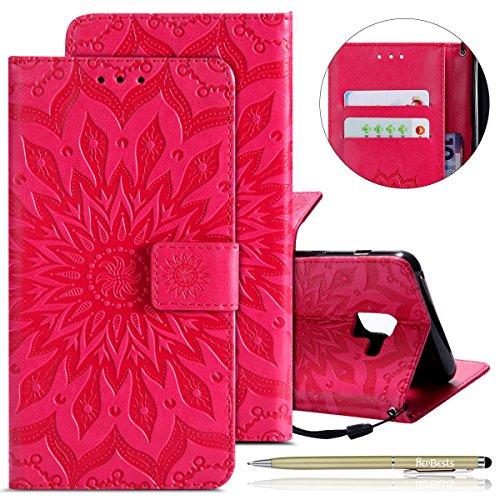 Herbests Hülle Samsung Galaxy S9 Plus Handyhülle Lederhülle Leder Flip Case Handy Schutzhülle Ledertasche Blumen Muster Klapphülle Wallet Cover Handytasche Kartenfach und Ständer,Hot Pink
