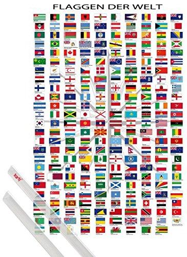 1art1 Poster + Hanger: Flaggen Der Welt Poster (91x61 cm) Ländernamen Und Hauptstädte, In Deutsch Inklusive EIN Paar Posterleisten, Transparent -