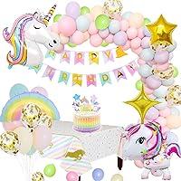 MMTX Décorations Anniversaire Licorne Party Decorations Fournitures, 2 énorme Licorne Balloons Joyeux Anniversaire…