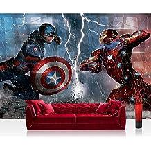 Papel Pintado Fotográfico Premium Plus pared–Fotomural Pared De Papel pintado–Marvel Avengers pintado The Avengers Captain America Iron Man Flash Multicolor–No. 3539, carbón, Fototapeten 368X254cm | PREMIUM PLUS