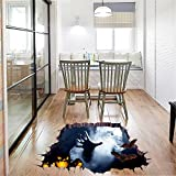 3D Floor Wandtattoo, Happy Halloween Scary Floor Broken Sticker Home Decoration Garten Wandtattoo Party Decoration Wall Art Wandtattoo Bat Zombie Pumpkin Wall Decal Cling for living room Überwurf 2 Taschen optional by fat. chot (90 cm * 60 cm)