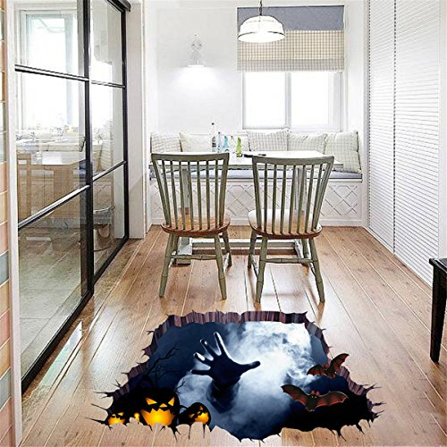 Happy Halloween Scary Floor Broken Sticker Home Decoration Garten Wandtattoo Party Decoration Wall Art Wandtattoo Bat Zombie Pumpkin Wall Decal Cling for living room Überwurf 2 Taschen optional by fat. chot (90 cm * 60 cm) (Halloween Wall Art)