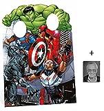 das Avengers Assemble Captain America und Iron Man Kindergröße Pappfiguren stehen hinter / Stehplatzinhaber / Aufsteller Enthält 8X10 (25X20Cm) starfoto