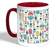 كوب قهوة مطبوع، لون احمر، رسوم الحلوى
