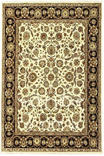 Arts of India indisch Handgefertigt Blumen Design Beige Wolle Handgeknüpft Jaipur/Orientalisch 8X10 Bereich Teppich - Teppich 8x10 Bereich