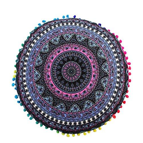 LuckyGirls Kissenbezug 43 x 43 cm Indische Mandala Boden Kissen runde böhmische Kissen Abdeckung (H) -