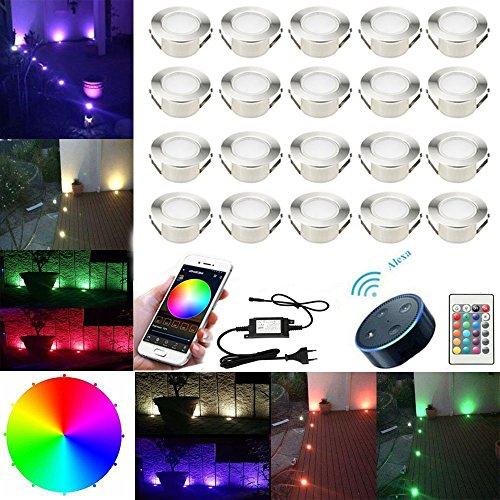 SUBOSI FVTLED 20er Set Ø61mm Led Bodenstrahler Bodeneinbauleuchten Boden Licht IP67 DC12V Wasserdicht Einbauleuchten Außen Terrasse Küche Garten Lampe (WLAN-RGB, 20er-Set)