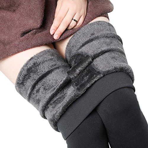 Damen Gefüttert Winterleggings Thermoleggings Lange Warme Leggings Strumpfhosen - Grau