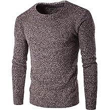 MISSMAO Chaqueta de Invierno Elegante para Hombre British Style Slim Fit Cuello Redondo Jersey Suéter