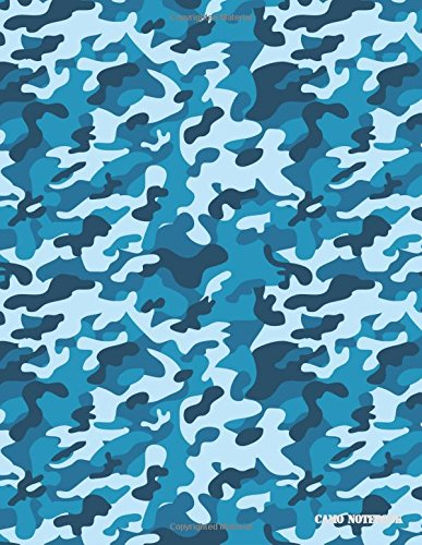 Camo Notebook: Navy Blue, Black Camouflage, 144 Pages - Black Navy Notebook