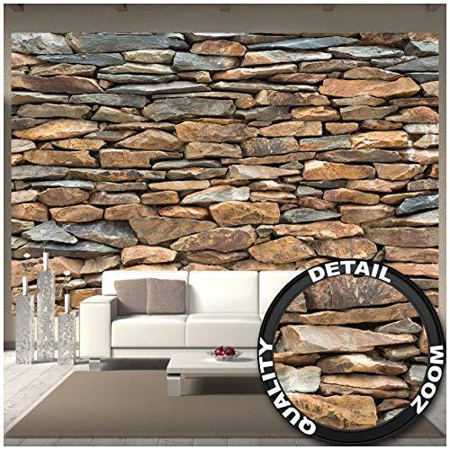 Great Art Fototapete - Schiefer Stonewall - Wandbild Dekoration 3D Steintapete Stein Muster Tapete Steinoptik Wand Schiefergestein Steinverkleidung Wandtapete Fotoposter Wanddeko (336 x 238 cm)