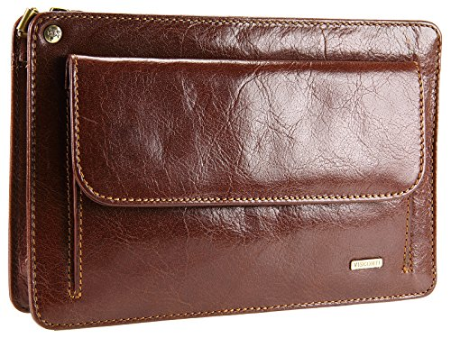 Visconti Mens Leather Travel Organiser Wrist Bag With Mobile Phone Pouch - 02617 (Tan)