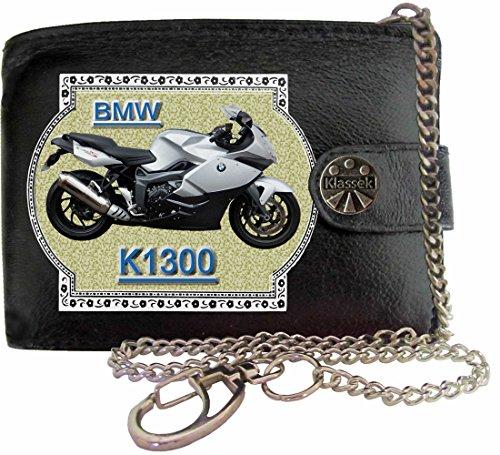 BMW K1300 Image sur portefeuille RFID pour hommes de marque KLASSEK vrai cuir avec chaîne Moto Bike cadeau d'accessoire avec boîte en métal produit BMW Non officiel