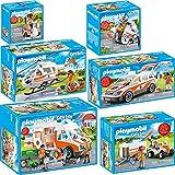 Playmobil City Life Set en 6 Parties 70048 70049 70050 70051 70052 70053 hélicoptère de Sauvetage + Ambulance + Voiture de médecin urgentiste + Motocyclette + Scooter + Quad