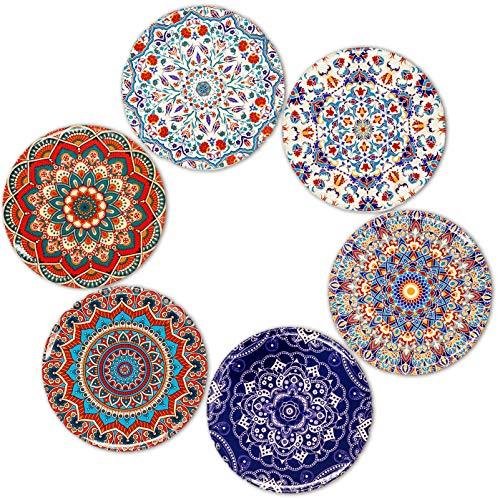 BOHORIA® Premium Design Untersetzer (6er Set) - Dekorative Untersetzer für Glas, Tassen, Vasen, Kerzen auf ihrem Esstisch aus Holz, Glas oder Stein (rund | 9cm) (Marrakech Edition) Glas 9