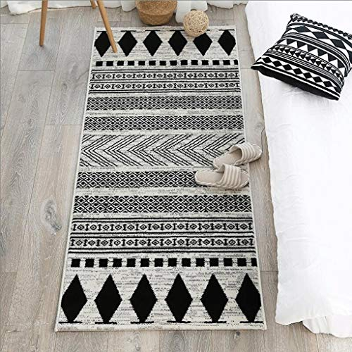 MingXinJia Anti-Rutsch-Teppich Matten Bodenmatte Home Familie Indoor/Outdoor Streifen Matten Wohnzimmer Teppich Sofa Couchtisch Mat Küche Schlafzimmer Bett Seitenmatten,80 * 125 cm,Schwarz und weiß (Indoor-küche Teppiche)