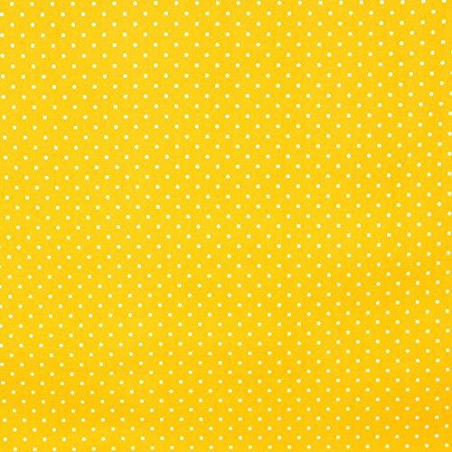 Quilting patchwork Craft leggero popeline di cotone, motivo a pois in tessuto giallo di libertà di alta qualità 100% cotone design britannico per cucito, quilting e patchwork projects-lovely Quilt stampa per lenzuola tende arredo abbigliamento larghezza 114,3cm (114) cm-Prezzo di quarto metro. Yellow