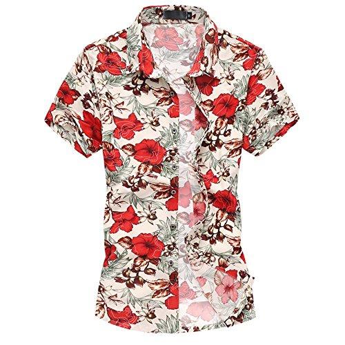 laub Strand Hawaii Blattaufdruck-Hemd (XX-Large, 661rot) (über Nacht Kostüme)