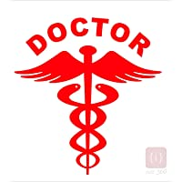 ISEE 360 2 Nos PVC Reflective Doctor Decal/Sticker for Any Car (Red)