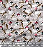 Soimoi Grau Baumwolljersey Stoff Tasse, Süßigkeiten &