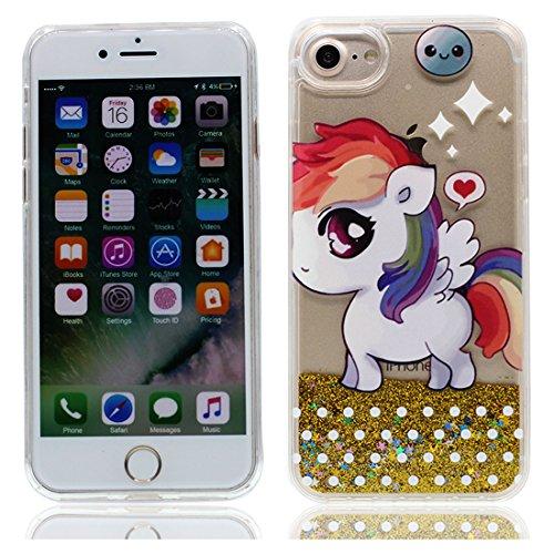 iPhone 7 Plus Custodia liquida, iPhone 7 Plus Custodia,Cool Creative Cristallo trasparente liquido traslucido lucido Bling Glitter Copertina case cover per iPhone 7 Plus 5.5inch,Unicorno &&3