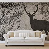 Hirsch Baum Blättern Wand- Forwall - Fototapete - Tapete - Fotomural - Mural Wandbild - (3128WM) - XXL - 312cm x 219cm - VLIES (EasyInstall) - 3 Pieces