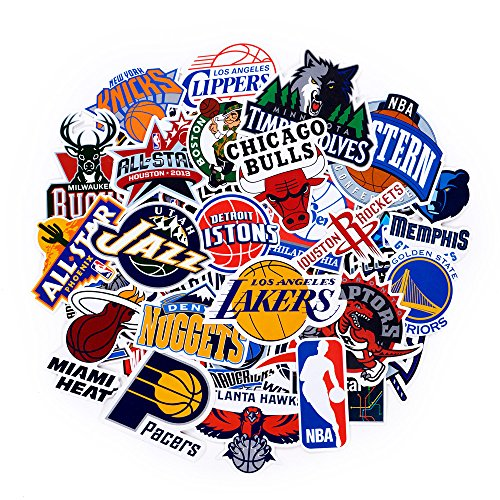 NBA Team Sticker Set 43Pack Collection Aufkleber Aufkleber Packungen für Wasser Flasche Laptop Handy Skateboard Fahrrad Motorrad Auto Bumper Gepäck Reisen Fall. Etc. (43pcs)