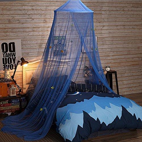 Jeteven Betthimmel Baldachin Mückenschutz Insektenschutz Netz für 1,8 Breit Bett Baby Kid Kinder daheim,hohe 250cm,Blau