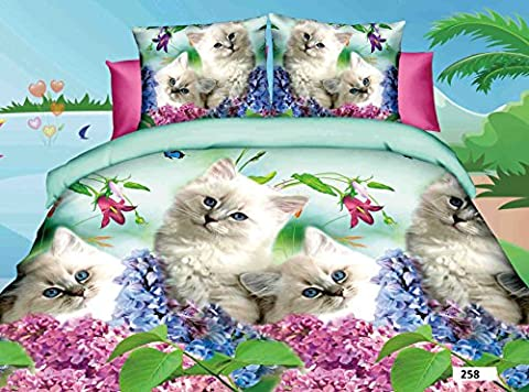 3D 4 PIECES COMPLETE BEDDING SET INCLUDES 1 DUVET QUILT COVER 1 FITTED SHEET 2 OXFORD STANDARD PILLOW CASES DESIGN BEAUTIFUL LOVING CATS WITH FLOWERS MATERIAL 100% POLYESTER BUT FEEL JUST LIKE SOFT COTTON SIZES AVAILABLE SINGLE DOUBLE KING (King, 258 Loving