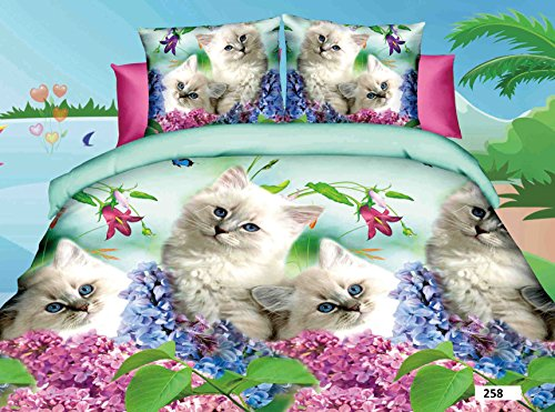 3D 4 PIECES COMPLETE BEDDING SET INCLUDES 1 DUVET QUILT COVER 1 FITTED SHEET 2 OXFORD STANDARD PILLOW CASES DESIGN BEAUTIFUL LOVING CATS WITH FLOWERS MATERIAL 100% POLYESTER BUT FEEL JUST LIKE SOFT COTTON SIZES AVAILABLE SINGLE DOUBLE KING (King, 258 Loving Cats)
