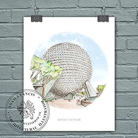 Epcot Center | Spaceship Earth | Art prints. High Quality,
