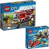 Lego City 2er Set 60106 60107 Feuerwehr-Starter-Set + Feuerwehrfahrzeug mit fahrbarer Leiter