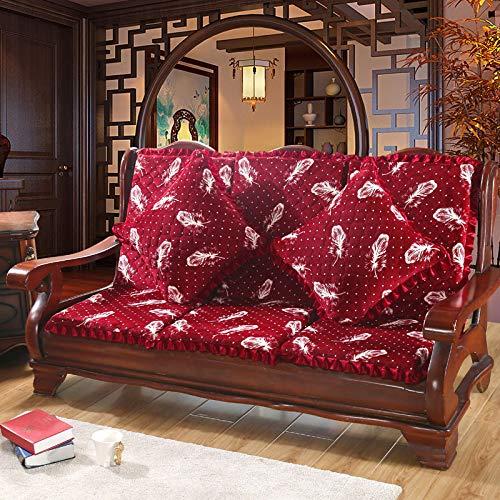 Rutschfeste abnehmbare und waschbare Massivholz Sofakissen mit Rückenlehne Plüsch Dreisitzbank Matte Mahagoni Kombination Schwammkissen rote Feder mit dem gleichen Kissen