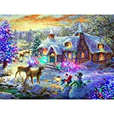mxjeeio 5D Diamant Painting DIY Diamant Schnee, Elch, Weihnachten, Weihnachtshaus Malerei Crystal Strass Stickerei Diamond Painting für Home Dekoration 30 * 40CM