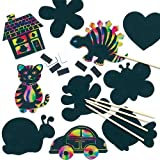 Scratch Art Novelty Magnets Assorted Designs for Children to Create Decorations (Pack of 10)