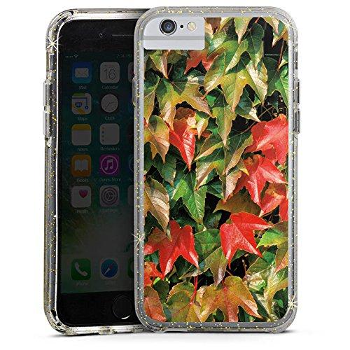 Apple iPhone 6 Bumper Hülle Bumper Case Glitzer Hülle Autumn Herbst Efeu Bumper Case Glitzer gold