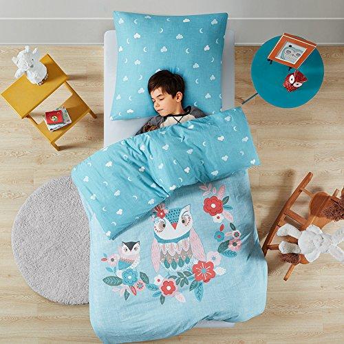 Renforcé Kinder Bettwäsche Set 2-teilig Eule mit Blumen & Wolken Bettbezug Kopfkissenbezug 100% Baumwolle Jungen Einzelbett blau, 135x200cm+80x80cm