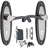 Mortice Handle, Mortice Lock, Door Lock, Lock, Atom 412 K.Y Mortice Door Handle Set Black Silver Finish with Double Stage Lock 3 Keys,Mortise Lock,Door Lock