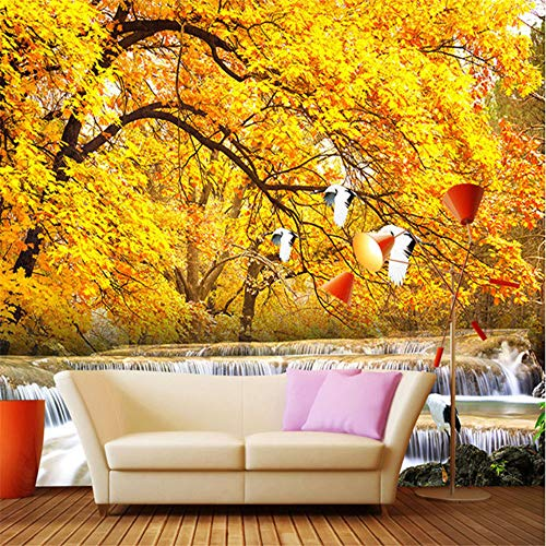 Hwhz Benutzerdefinierte Wandmalerei 3D Wallpaper Gold Bäume Späten Herbst Wald Wasser Landschaft WandbildWohnzimmer Hintergrund Dekoration-350X250Cm