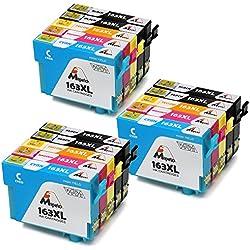 Mipelo Compatible Epson 16XL 16 Cartuchos de tinta, 15 Pack con Impresora Epson Workforce WF-2630 WF-2750 WF-2530 WF-2510 WF-2520 WF-2650 WF-2010 WF-2660