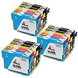 Mipelo Compatible Epson 16XL 16 Cartucce d'inchiostro, 15 Pack per Stampante Epson Workforce WF-2510 WF-2630 WF-2750 WF-2760 WF-2010 WF-2530 WF-2660 WF-2520 WF-2650 WF-2540 (6 Nero, 3 Ciano / Magenta / Giallo)