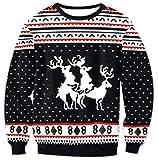 Rentier Damen Sweatshirts Weihnachten Druck Weihnachtsmotiv Hemd Kapuzenpullover Langarm Top Jumper Shirt Herbst Winter XL