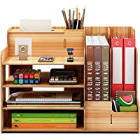 CRISELL Wooden Office Desk Organiser and Accessories, Multi-Functional Stationary Supplies Desktop Organizer Set, Small…